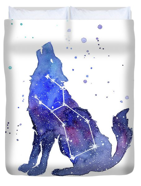 Galaxy Wolf - Lupus Constellation Duvet Cover