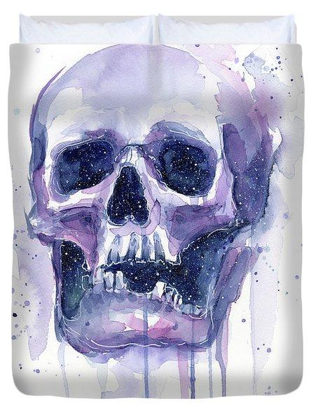 Skull In Space Duvet Cover