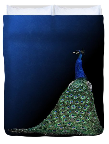 Duvet Cover featuring the photograph Dressed To Party - Male Peacock by Debi Dalio