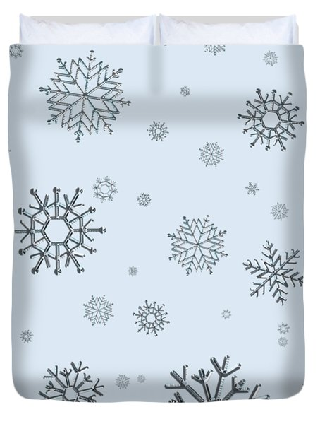 Snowflakes On Blue Duvet Cover