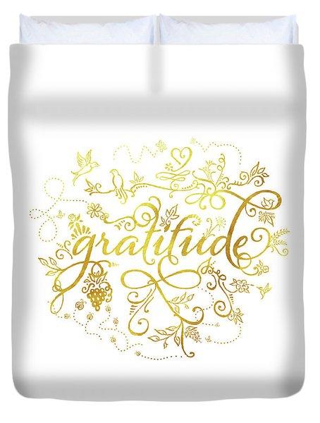 Golden Gratitude Duvet Cover