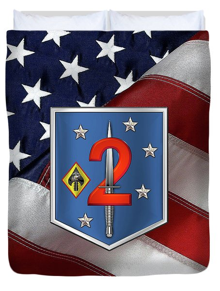 2d Marine Raider Support Battalion  -  2d  M R S B  Patch Over American Flag Duvet Cover