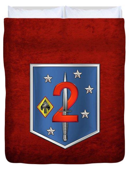 2d Marine Raider Support Battalion  -  2d  M R S B  Patch Over Red Velvet Duvet Cover