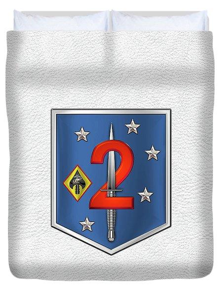 2d Marine Raider Support Battalion  -  2d  M R S B  Patch White Leather Duvet Cover