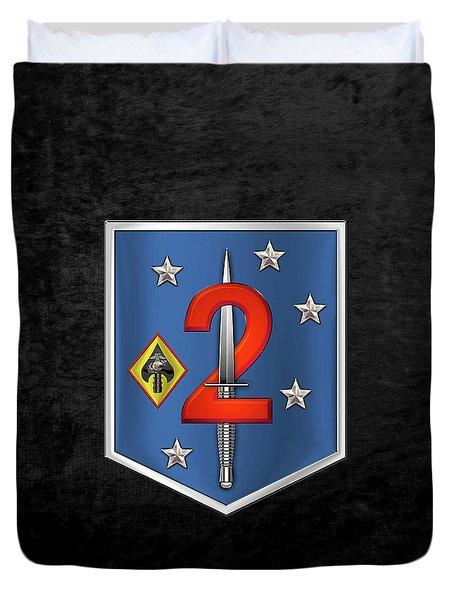 2d Marine Raider Support Battalion  -  2d  M R S B  Patch Over Black Velvet Duvet Cover