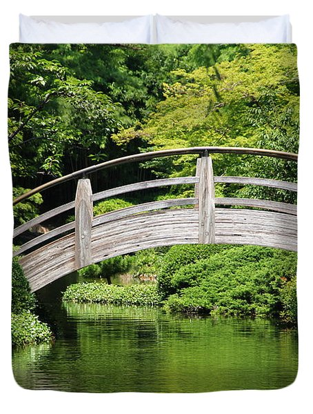 Duvet Cover featuring the photograph Japanese Garden Arch Bridge In Springtime by Debi Dalio