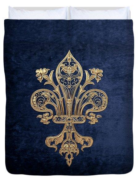 Gold Filigree Fleur-de-lis Over Blue Velvet Duvet Cover