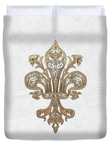 Gold Filigree Fleur-de-lis Over White Leather Duvet Cover