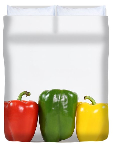 Duvet Cover featuring the photograph Bell Pepper Support Group by Debi Dalio