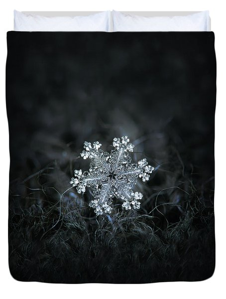 Duvet Cover featuring the photograph Real Snowflake - 26-dec-2018 - 1 by Alexey Kljatov