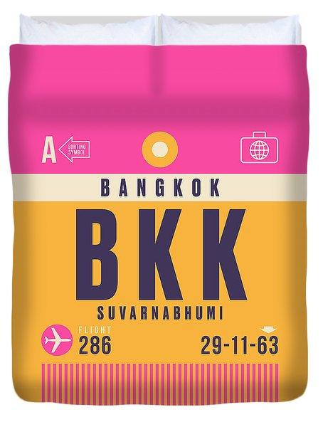 Retro Airline Luggage Tag - Bkk Bangkok Thailand Duvet Cover