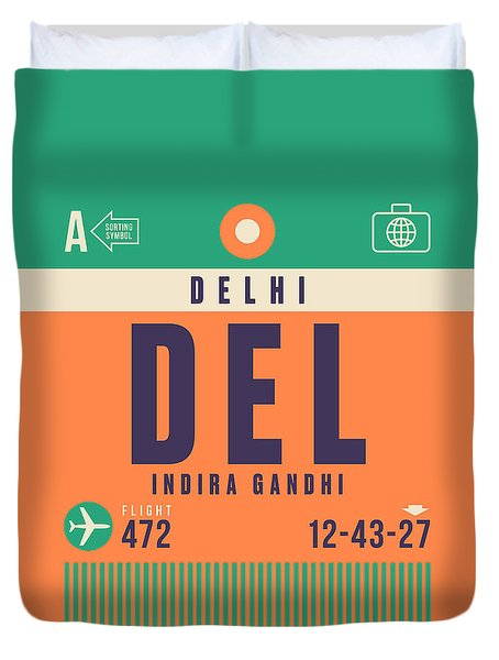 Retro Airline Luggage Tag - Del Delhi Airport Duvet Cover