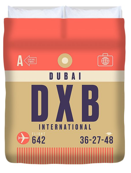 Retro Airline Luggage Tag - Dxb Dubai Duvet Cover