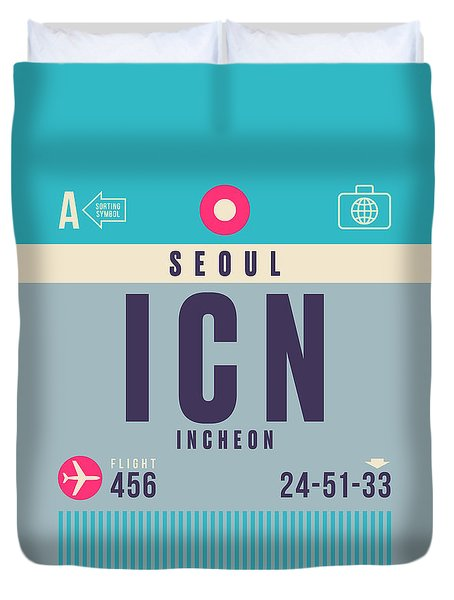 Retro Airline Luggage Tag - Icn Seoul Incheon Duvet Cover