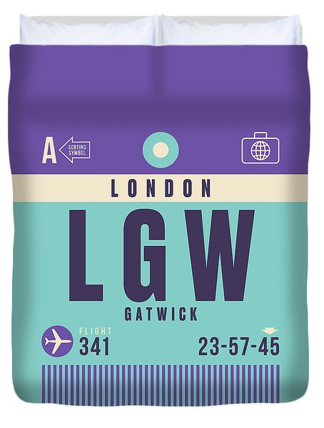 Retro Airline Luggage Tag - Lgw London Gatwick Airport Duvet Cover