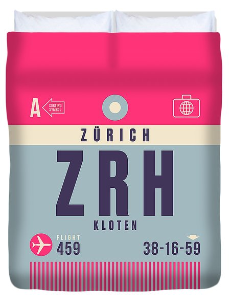 Retro Airline Luggage Tag - Zrh Zurich Airport Switzerland Duvet Cover