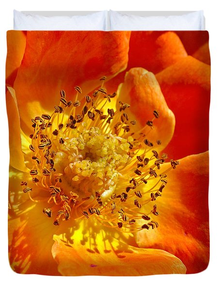 Heart Of The Orange Rose Duvet Cover