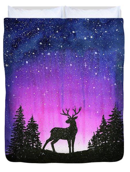 Winter Forest Galaxy Reindeer Duvet Cover