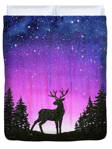 Winter Forest Galaxy Reindeer Duvet Cover