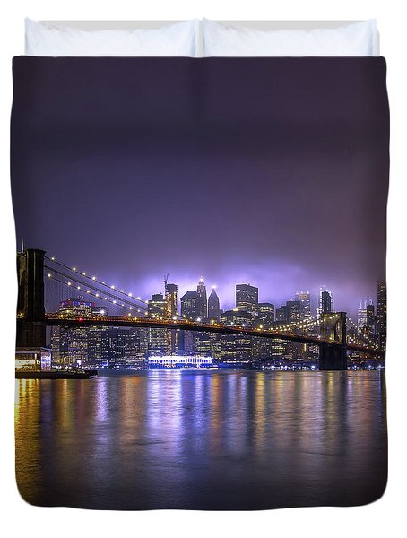 Bright Lights Of New York II Duvet Cover