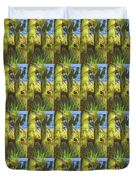 In The Shadow Of Saguaros Duvet Cover