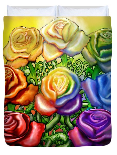 Rainbow Of Roses Duvet Cover