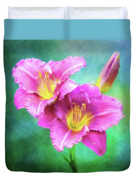 Dynamic Daylily Duo Duvet Cover