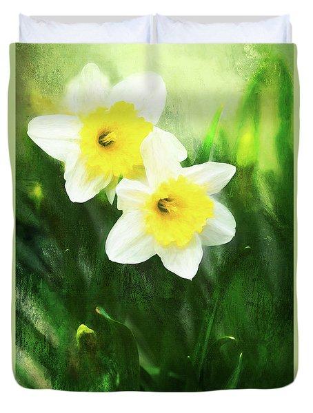 Lovely Painted Daffodil Pair Duvet Cover