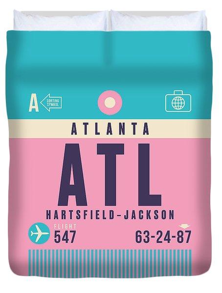 Retro Airline Luggage Tag - Atl Atlanta Duvet Cover