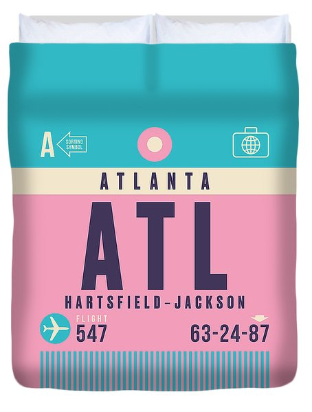 Retro Airline Luggage Tag - Atl Atlanta Duvet Cover