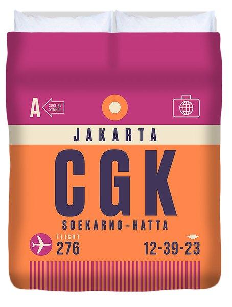 Retro Airline Luggage Tag - Cgk Jakarta Indonesia Duvet Cover