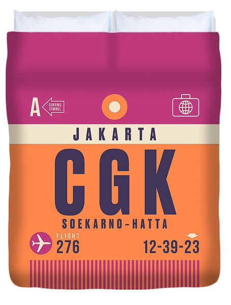 Retro Airline Luggage Tag - Cgk Jakarta Indonesia Duvet Cover
