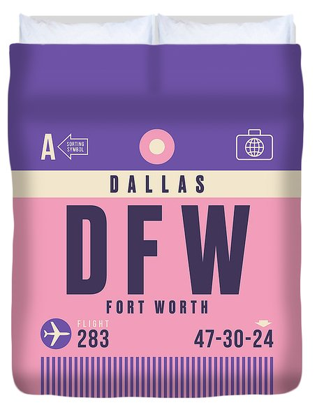 Retro Airline Luggage Tag - Dfw Dallas Fort Worth United States Duvet Cover