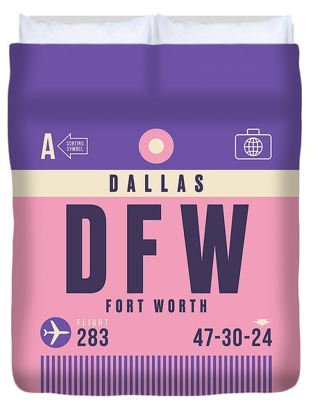 Retro Airline Luggage Tag - Dfw Dallas Fort Worth United States Duvet Cover