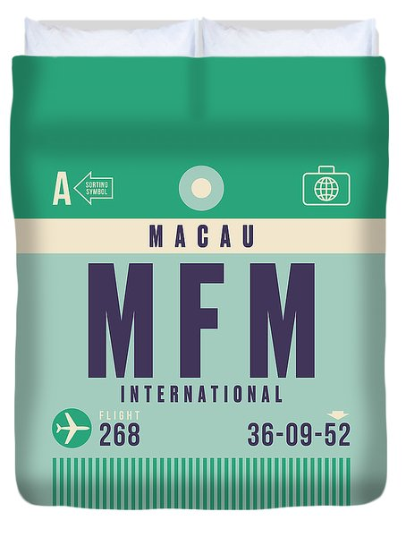 Retro Airline Luggage Tag - Mfm Macau Duvet Cover