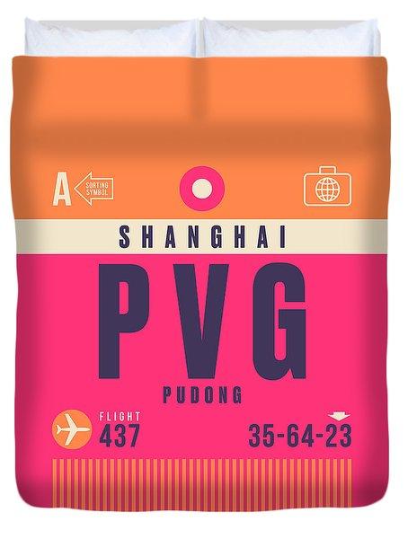 Retro Airline Luggage Tag - Pvg Shanghai China Duvet Cover