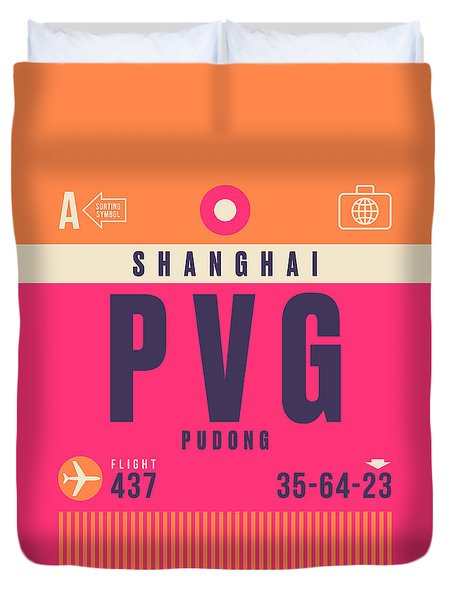 Retro Airline Luggage Tag - Pvg Shanghai China Duvet Cover