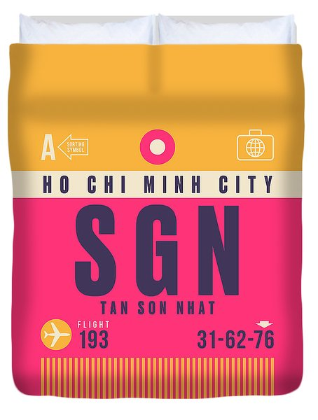 Retro Airline Luggage Tag - Sgn Ho Chi Minh City Vietnam Duvet Cover