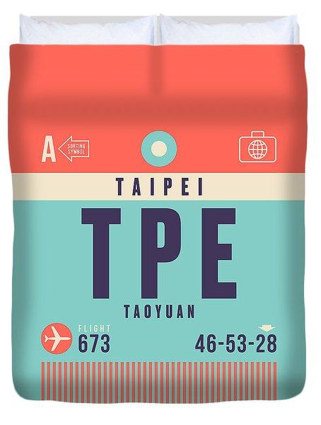 Retro Airline Luggage Tag - Tpe Taipei Taiwan Duvet Cover