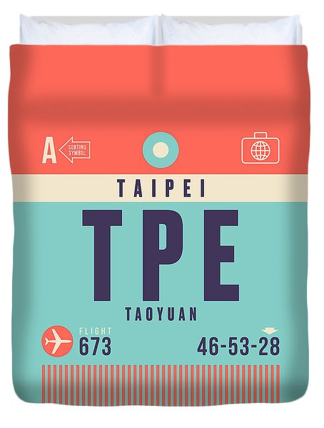 Retro Airline Luggage Tag - Tpe Taipei Taiwan Duvet Cover