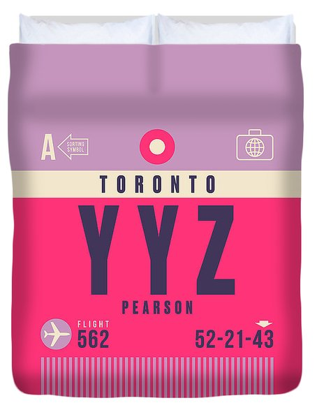Retro Airline Luggage Tag - Yyz Toronto Canada Duvet Cover