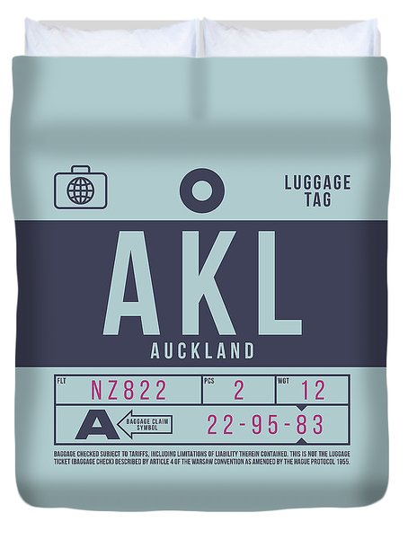 Retro Airline Luggage Tag 2.0 - Akl Auckland New Zealand Duvet Cover