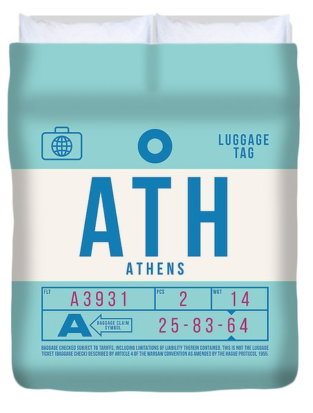 Retro Airline Luggage Tag 2.0 - Ath Athens Greece Duvet Cover