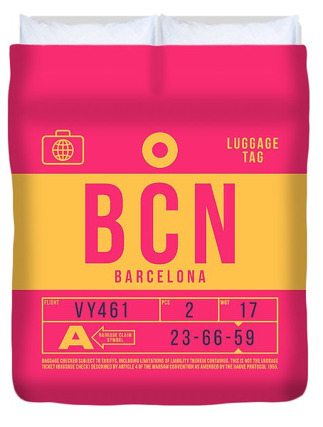 Retro Airline Luggage Tag 2.0 - Bcn Barcelona Spain Duvet Cover