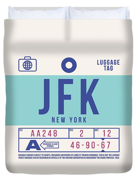 Retro Airline Luggage Tag 2.0 - Jfk New York United States Duvet Cover