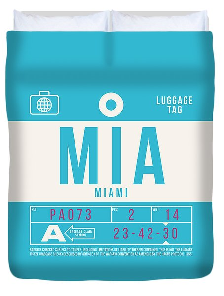 Retro Airline Luggage Tag 2.0 - Mia Miami International Airport United States Duvet Cover