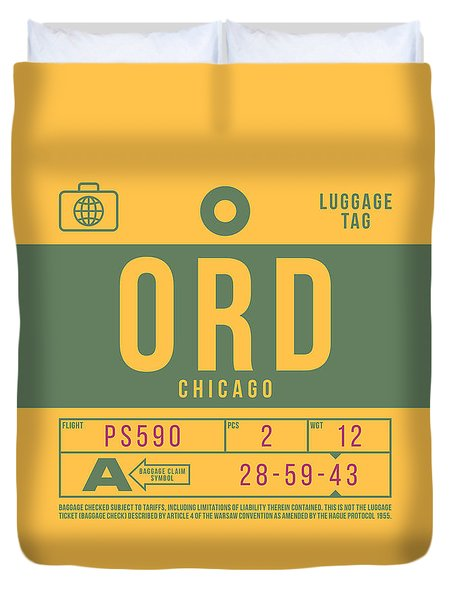 Retro Airline Luggage Tag 2.0 - Ord Chicago O'hare Airport United States Duvet Cover