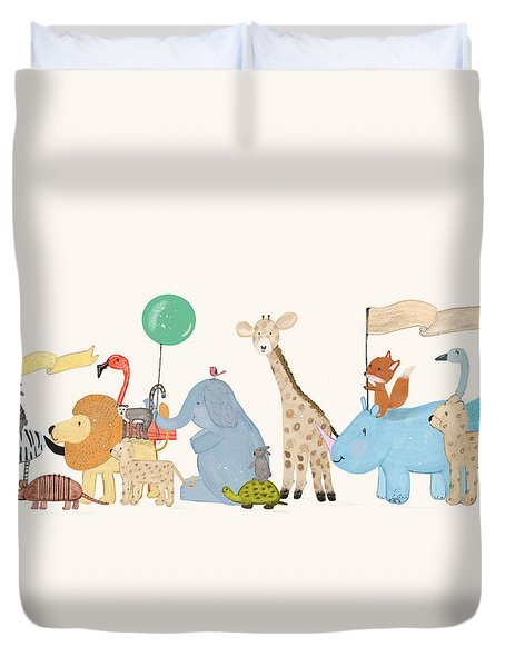 Little Safari Parade Duvet Cover by Bri Buckley