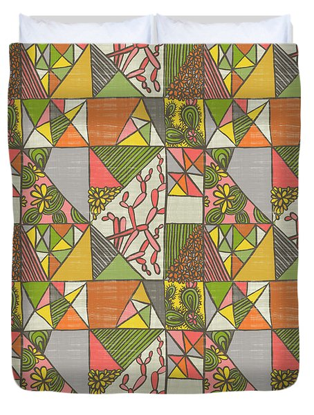 Geometric Flowering Cacti Duvet Cover