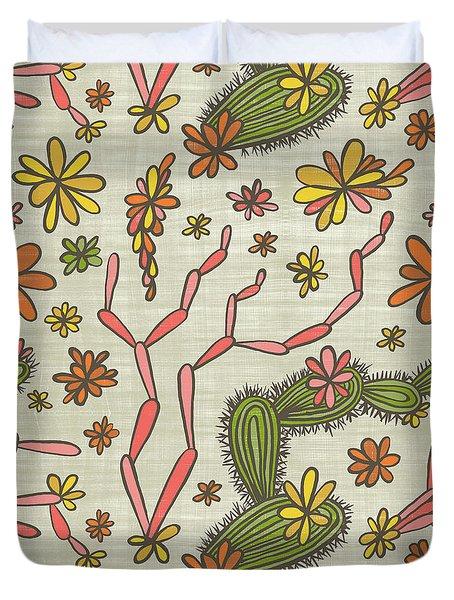 Flowering Cacti Elements Duvet Cover